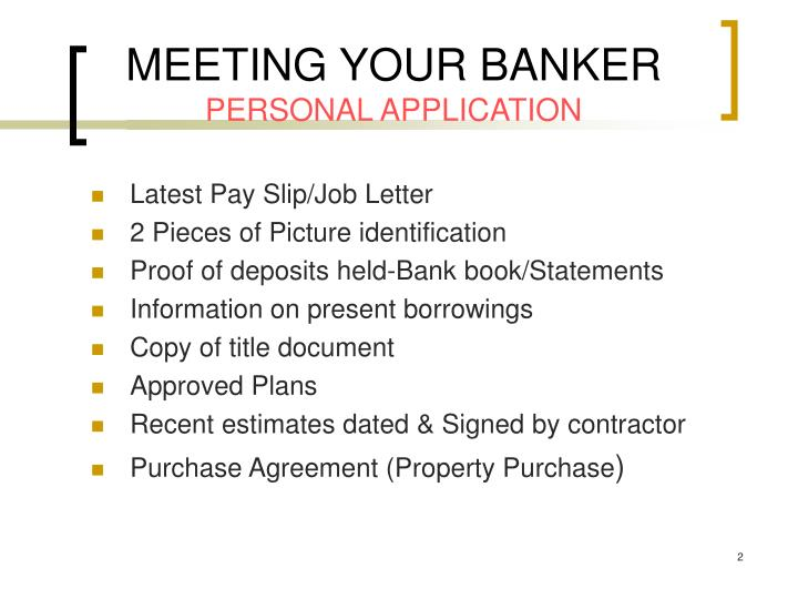 Meeting your banker personal application