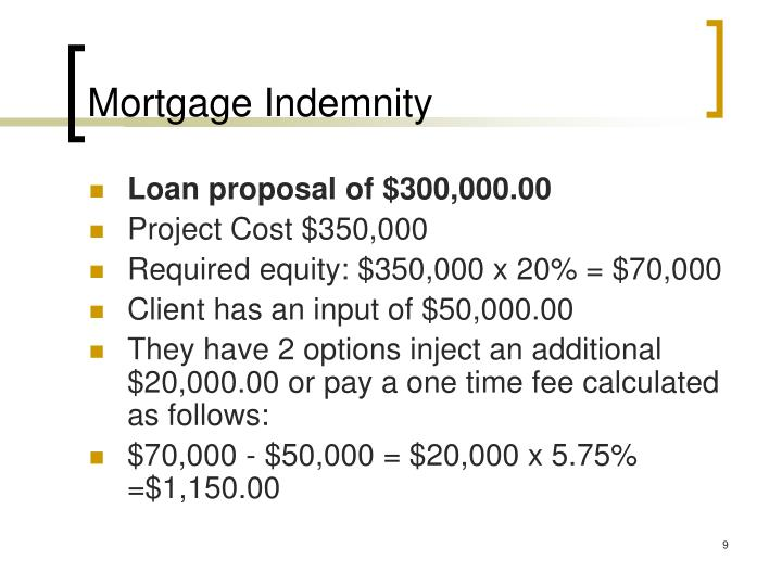 Mortgage Indemnity