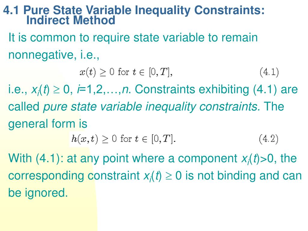 4.1 Pure State Variable Inequality Constraints: