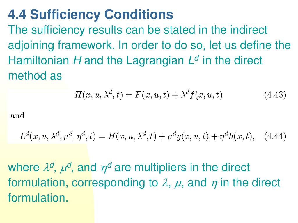 4.4 Sufficiency Conditions