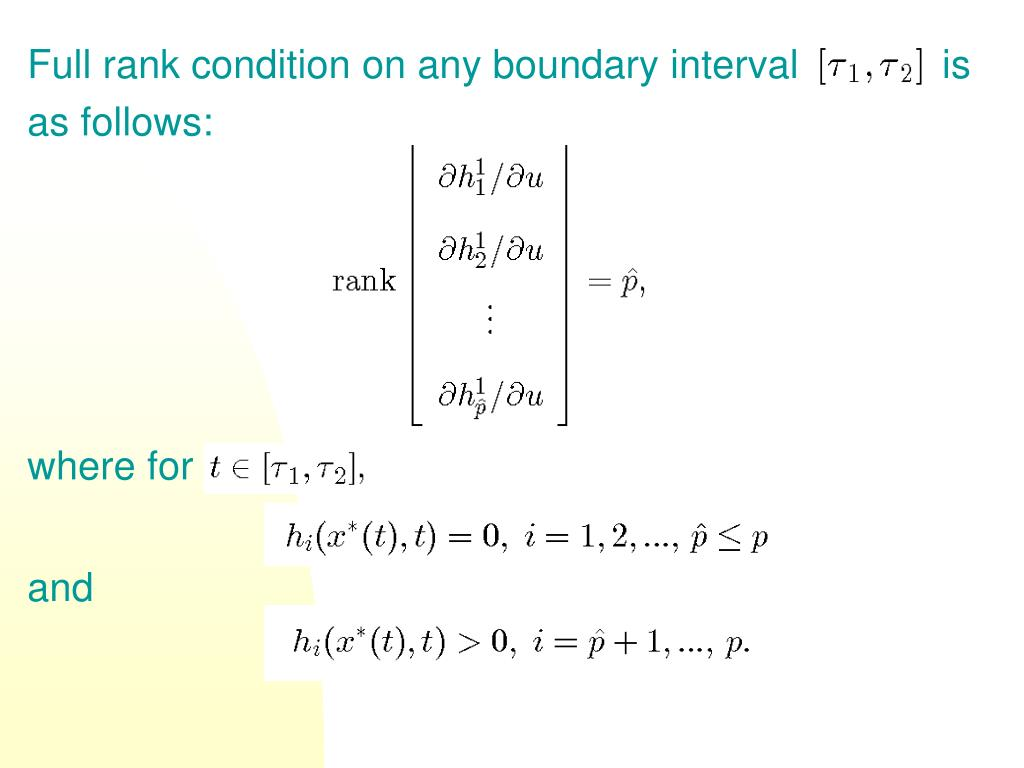Full rank condition on any boundary interval             is