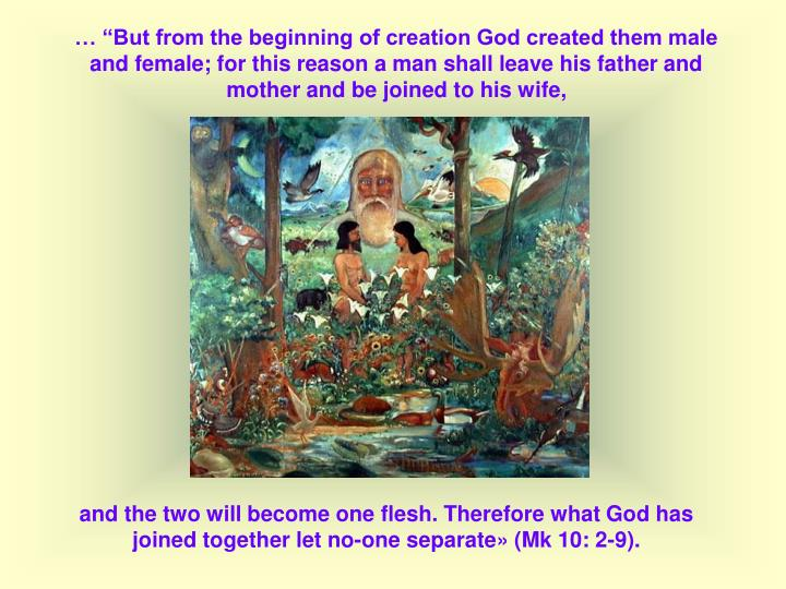 But from the beginning of creation God created them male and female; for this reason a man shall leave his father and mother and be joined to his wife,