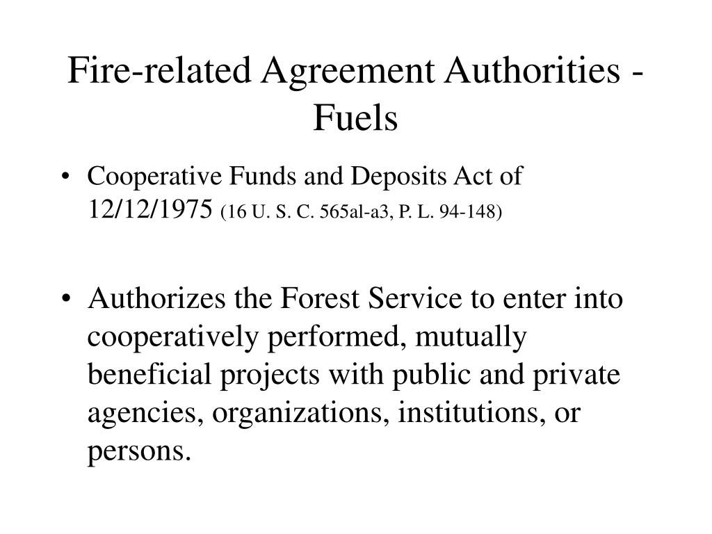 Fire-related Agreement Authorities - Fuels