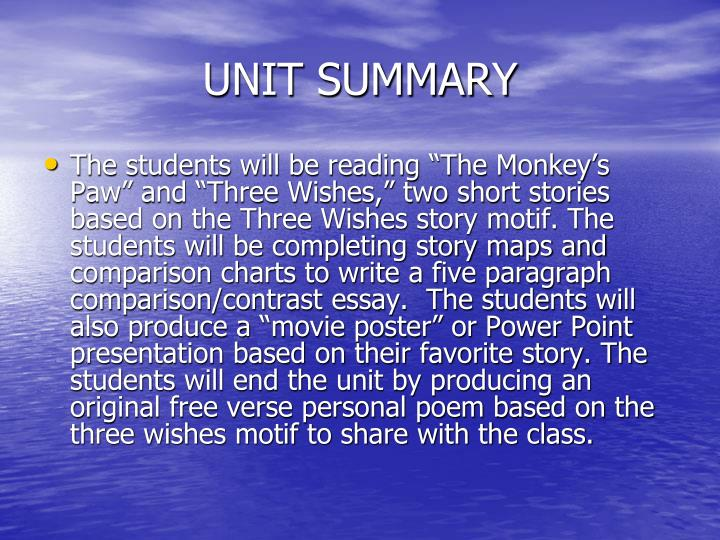Unit summary