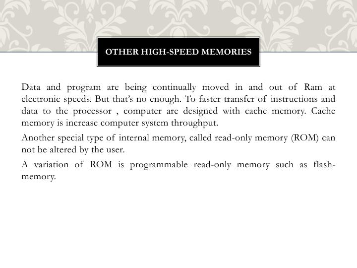 Other high-speed memories