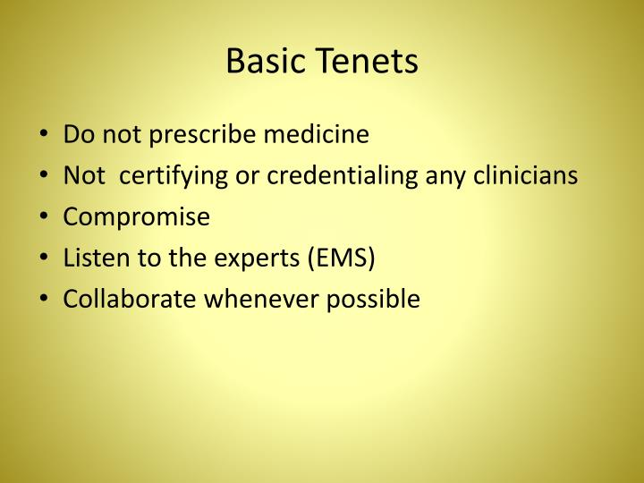 Basic Tenets