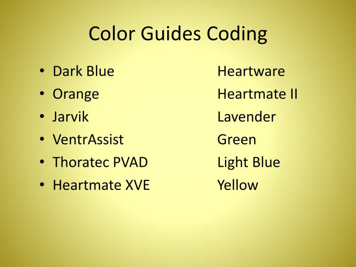 Color Guides Coding