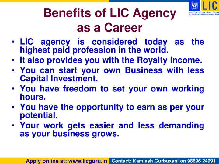 Benefits of LIC Agency