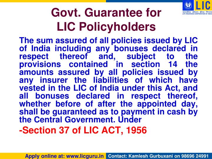 Govt. Guarantee for
