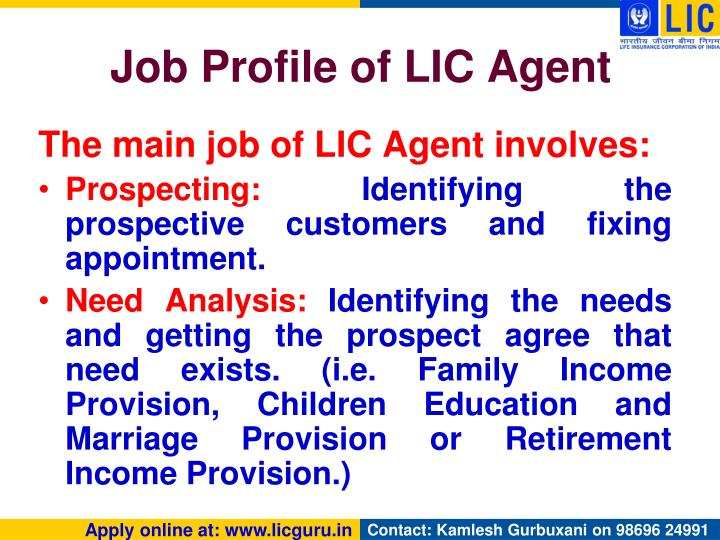 Job Profile of LIC Agent