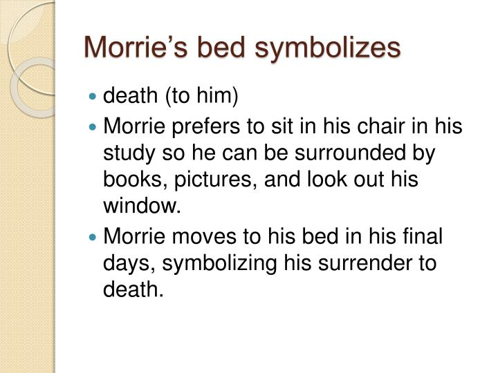tuesdays with morrie central idea One of the most central themes in the memoir is the importance of individualization (the process of developing one's own sense of self) albom introduces readers to morrie as an eclectic, free-spirited professor, who was never afraid to march to the beat of his own drum he describes morrie as 'a cross between a biblical.