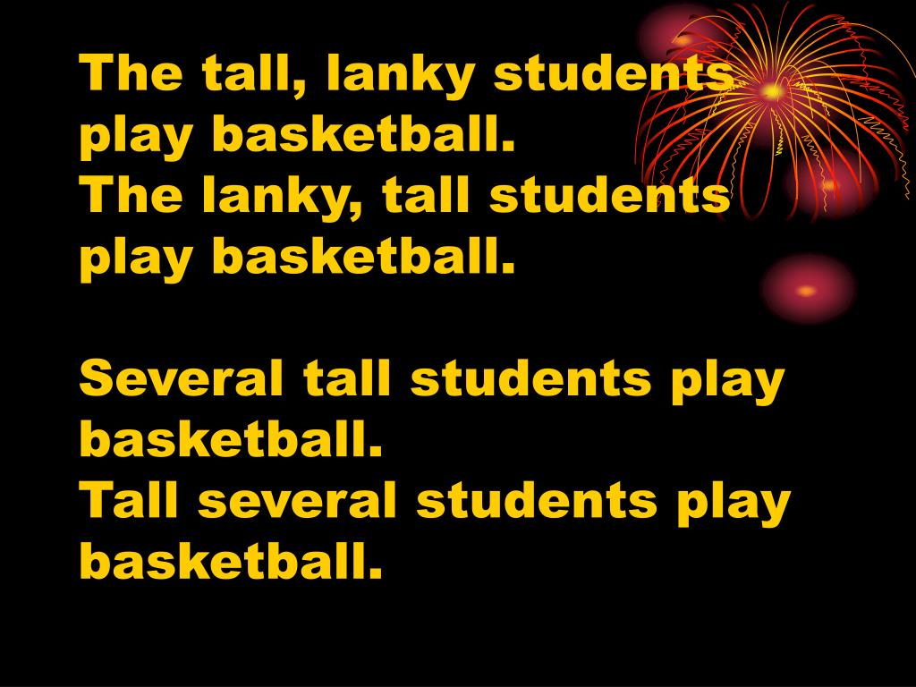 The tall, lanky students play basketball.