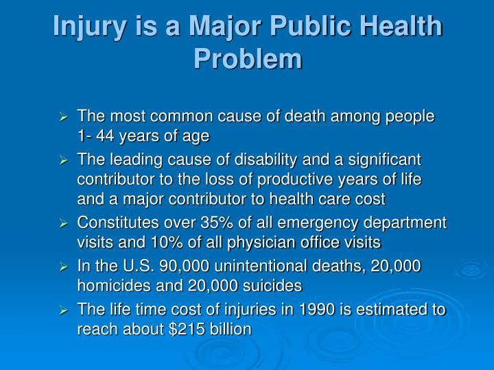 Injury is a Major Public Health Problem