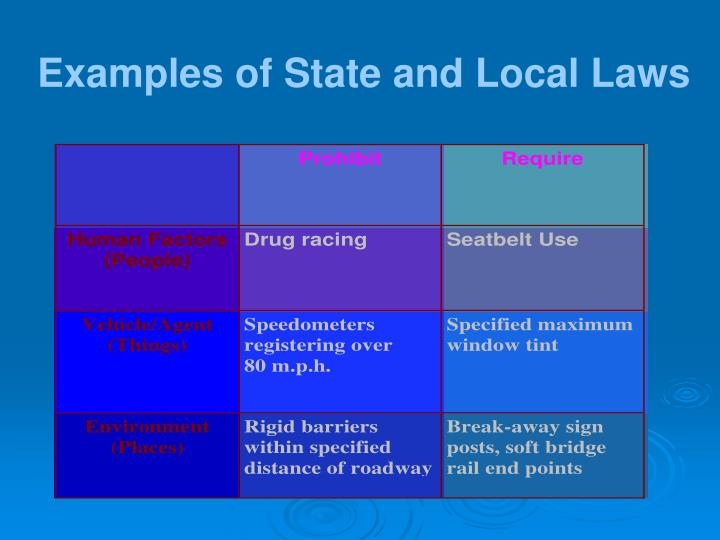 Examples of State and Local Laws