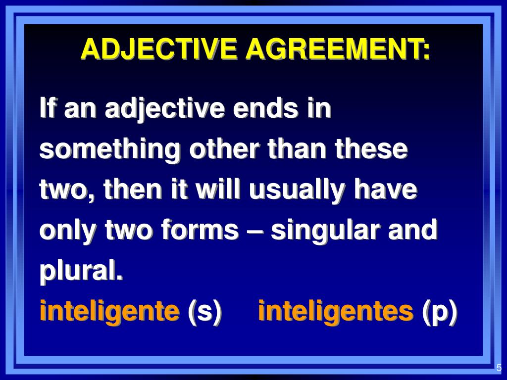 ADJECTIVE AGREEMENT: