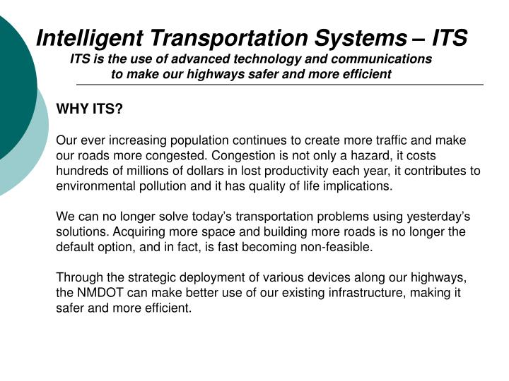 Intelligent Transportation Systems – ITS