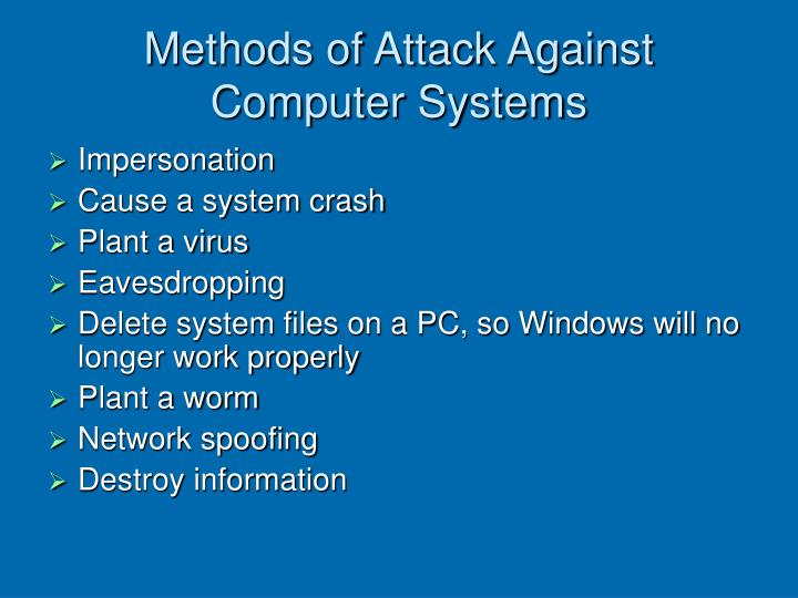 Methods of Attack Against Computer Systems