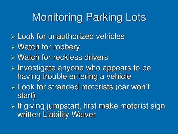 Monitoring Parking Lots