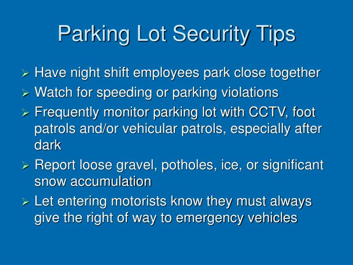 Parking Lot Security Tips