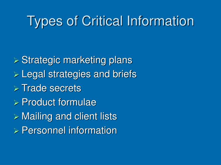Types of Critical Information