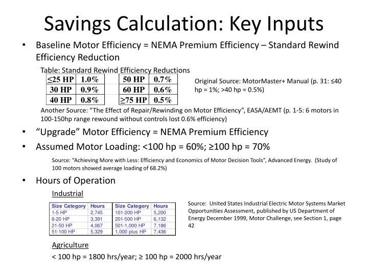 Savings Calculation: Key Inputs