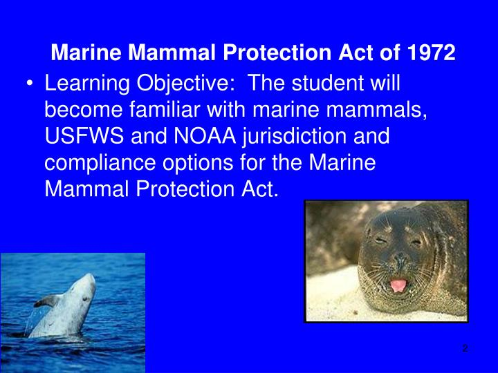 Marine mammal protection act of 19721