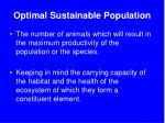 optimal sustainable population