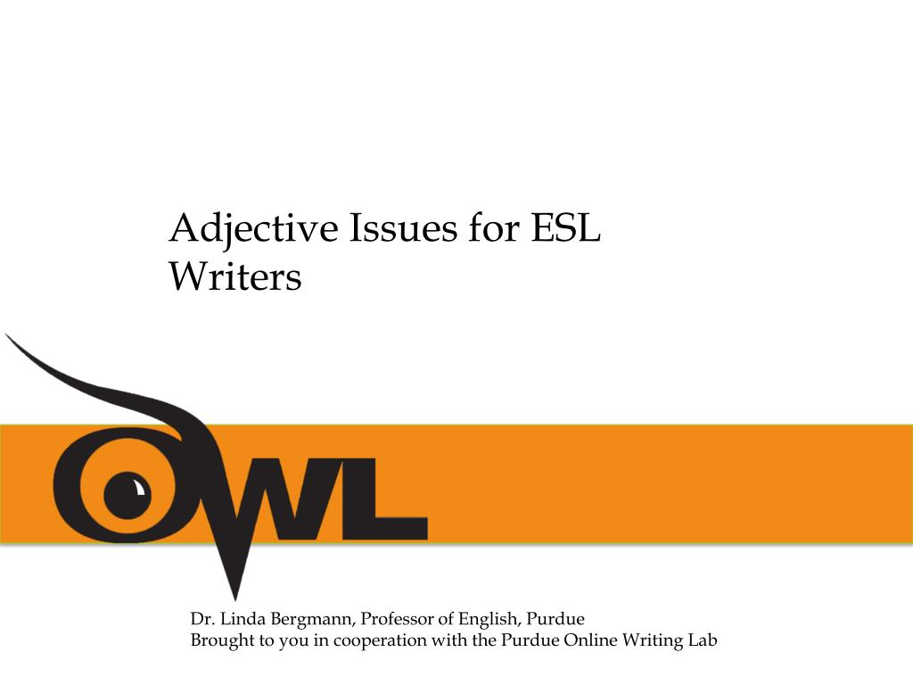 Adjective Issues for ESL Writers