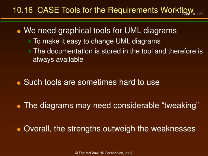 10.16  CASE Tools for the Requirements Workflow