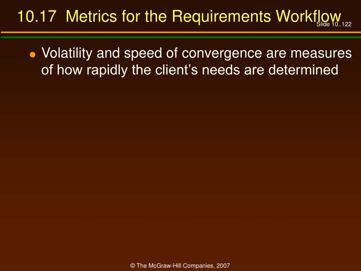 10.17  Metrics for the Requirements Workflow
