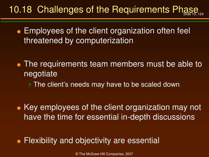 10.18  Challenges of the Requirements Phase