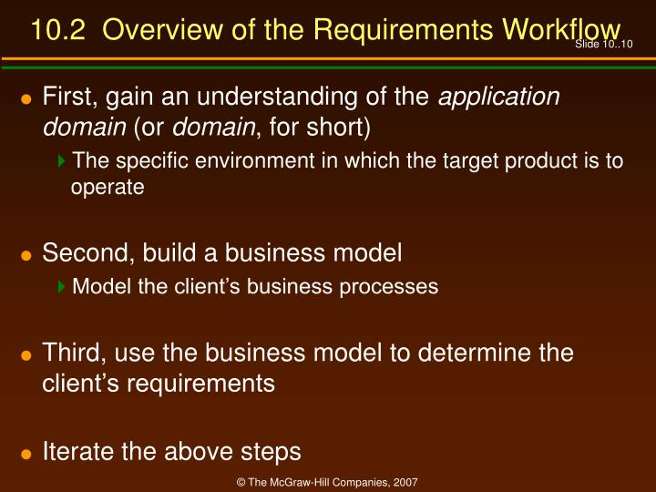 10.2  Overview of the Requirements Workflow