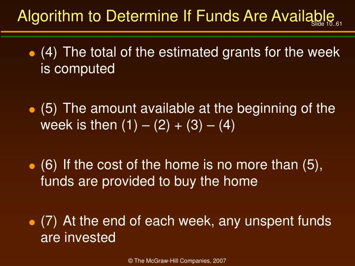Algorithm to Determine If Funds Are Available