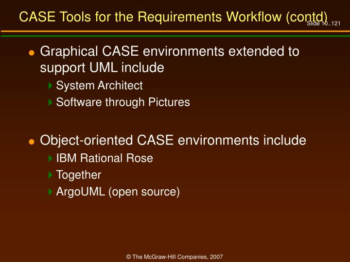 CASE Tools for the Requirements Workflow (contd)