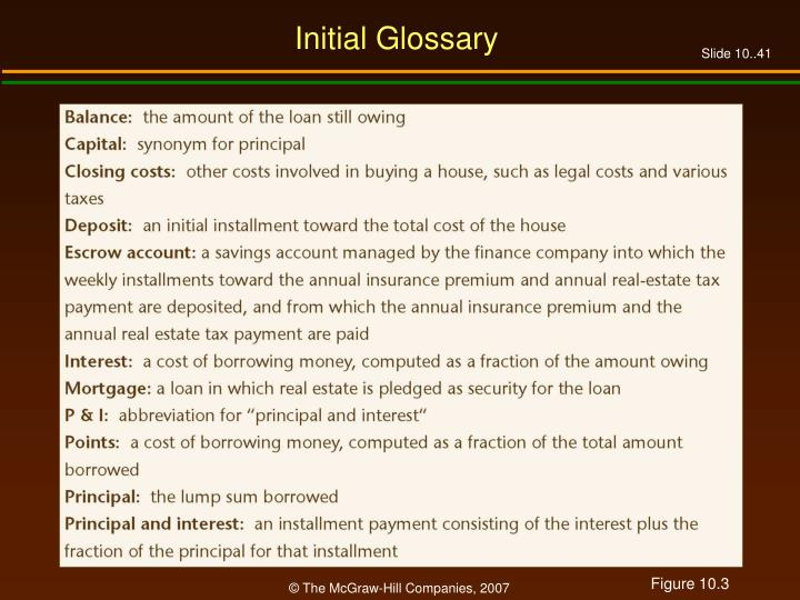 Initial Glossary