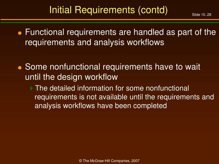 Initial Requirements (contd)