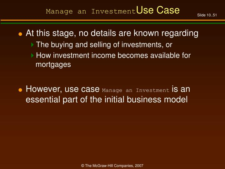 Manage an Investment