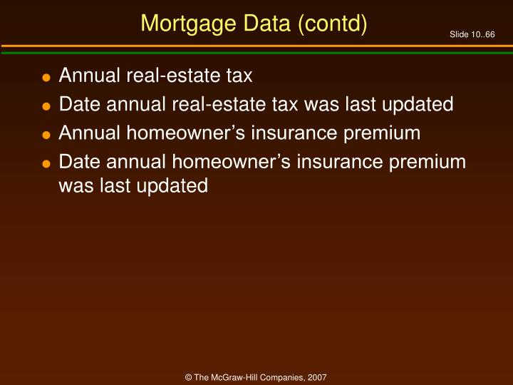 Mortgage Data (contd)