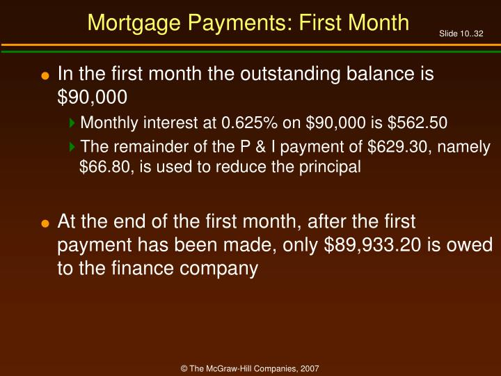 Mortgage Payments: First Month