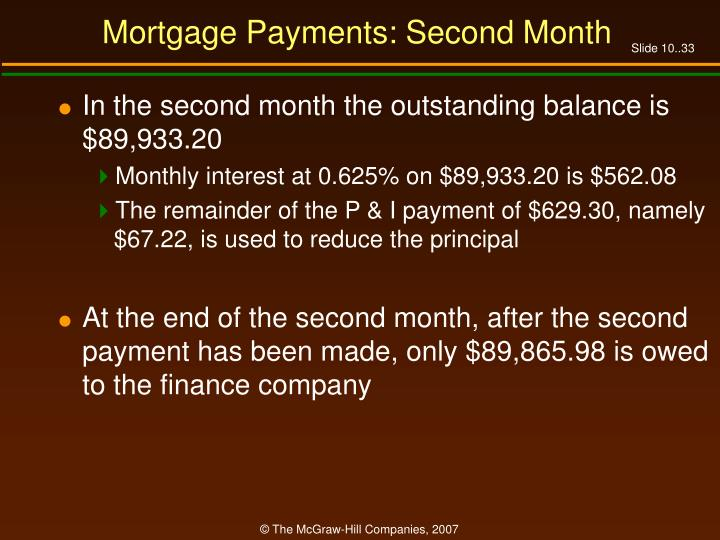 Mortgage Payments: Second Month