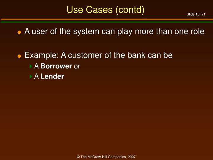 Use Cases (contd)