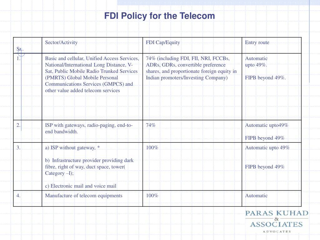 FDI Policy for the Telecom