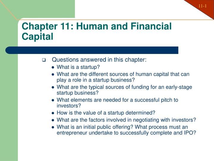 Chapter 11 human and financial capital