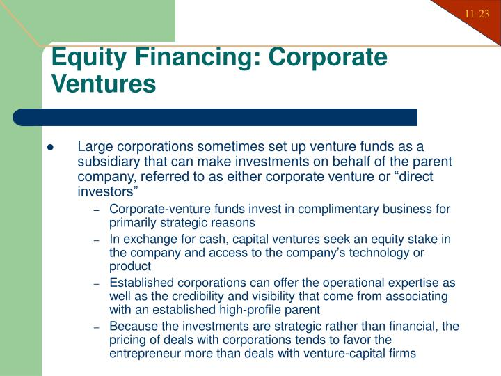 Equity Financing: Corporate Ventures