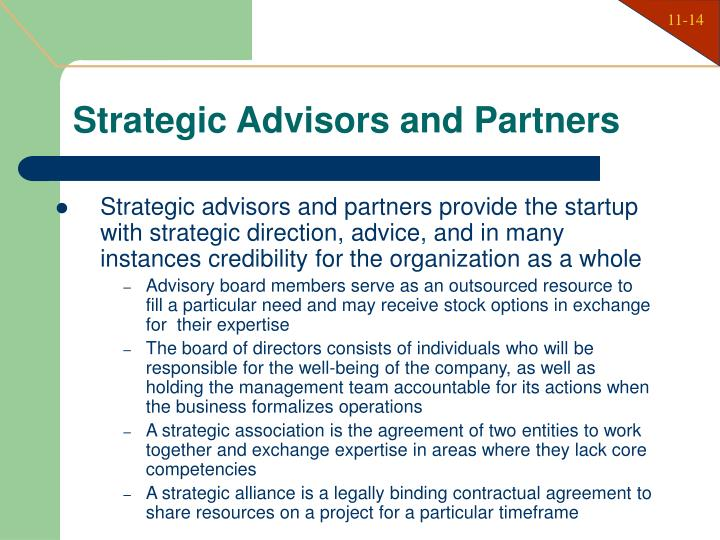 Strategic Advisors and Partners