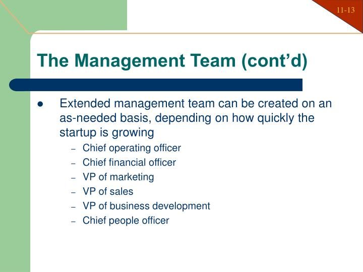 The Management Team (cont'd)