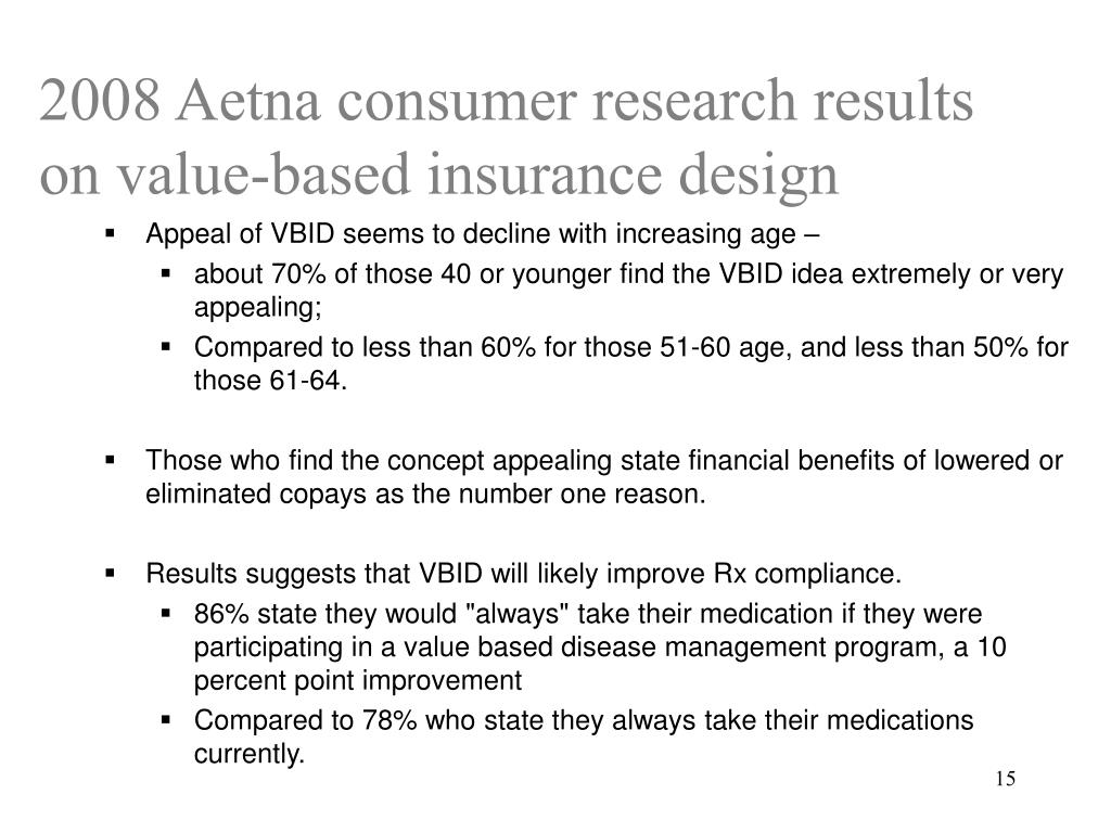 2008 Aetna consumer research results on value-based insurance design