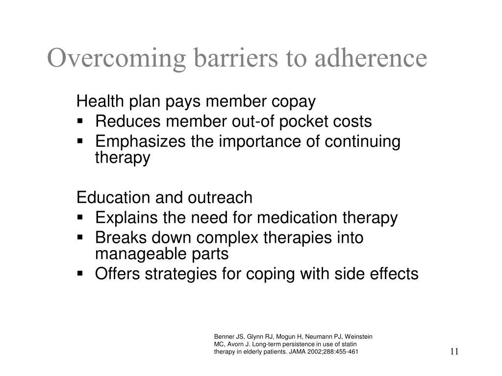 Overcoming barriers to adherence
