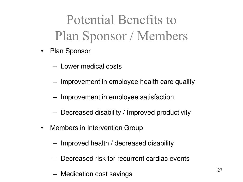 Potential Benefits to