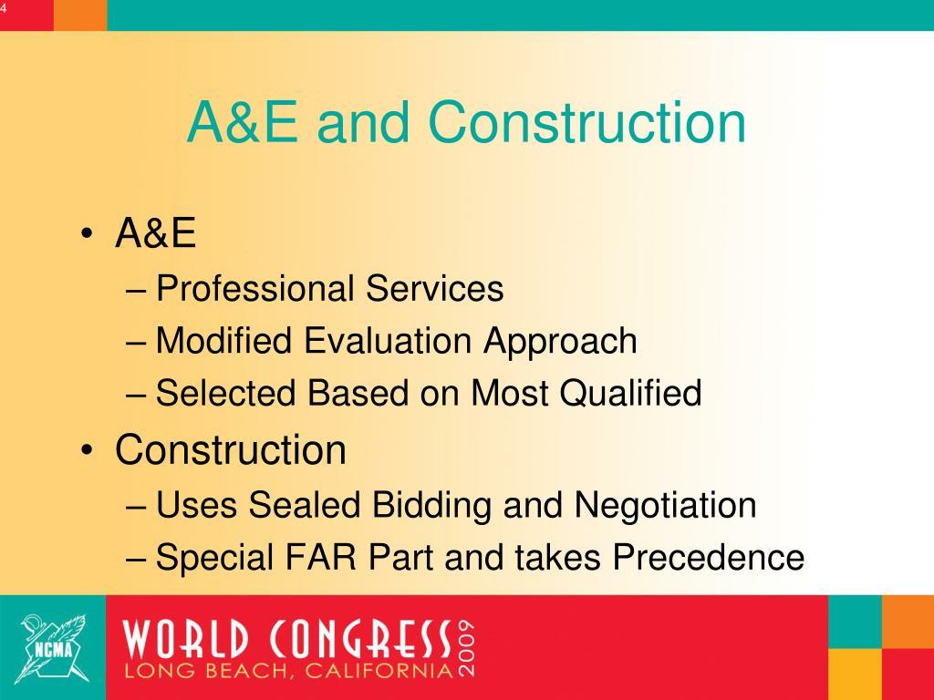 A&E and Construction